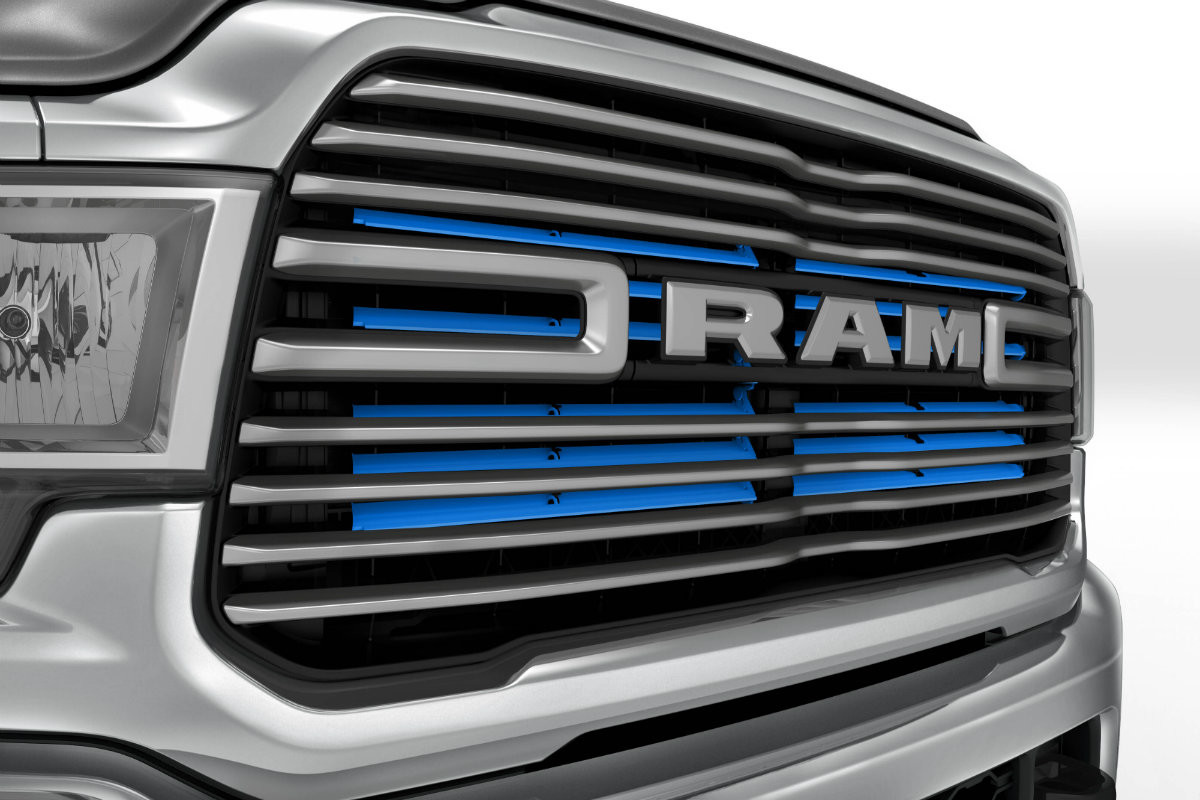Close-up technical image of the 2019 Ram Chassis Cab's active grille shutters.
