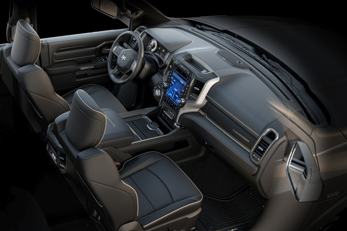 The black leather interior of a new 2019 Ram Chassis Cab Limited featuring a class-exclusive 12-inch touchscreen.