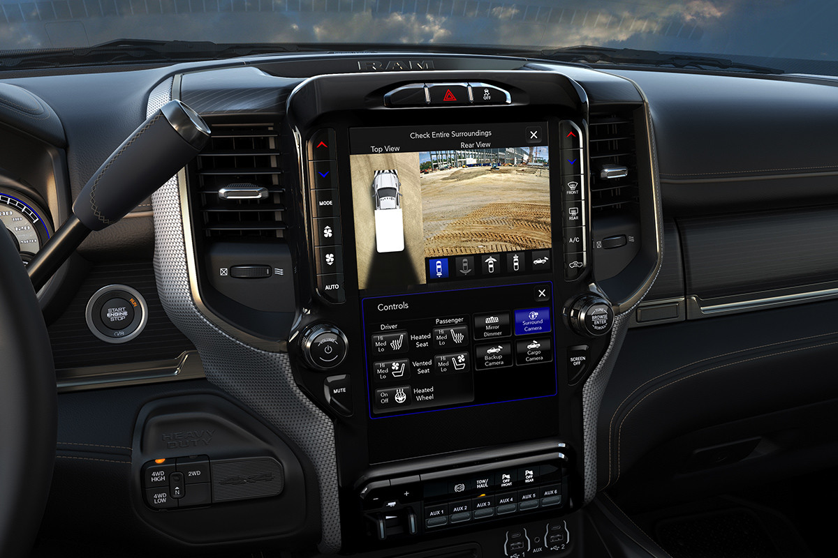 The 8.4-inch Touchscreen inside the 2019 Ram Chassis Cab displaying the Class-Exclusive 270-Degree Surround View Camera.