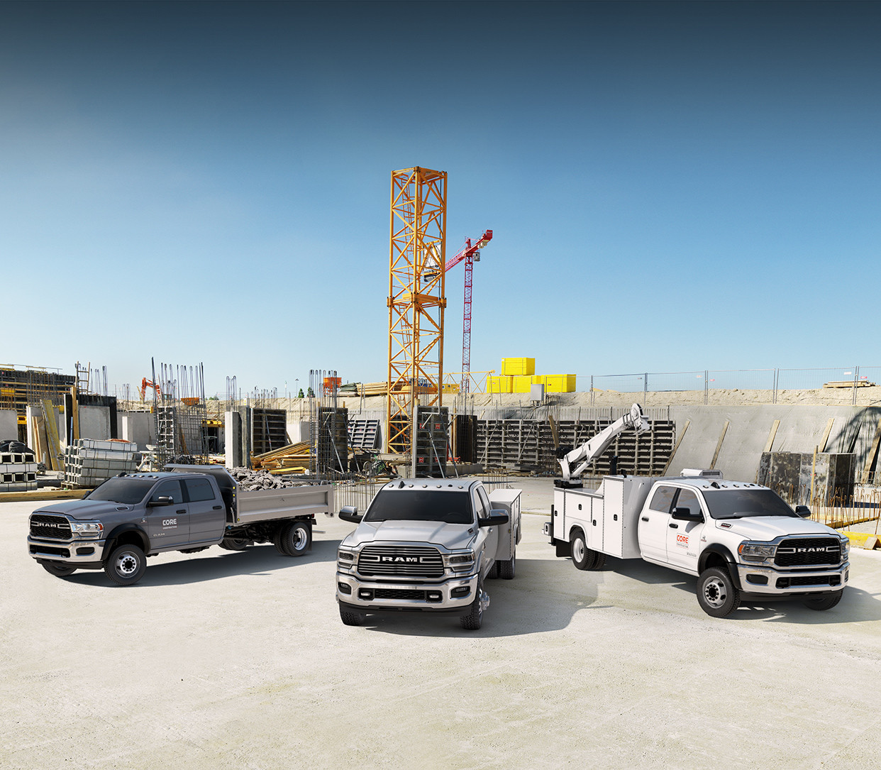 2019 Ram Chassis Cab showing the 3500, 4500, and 5500.
