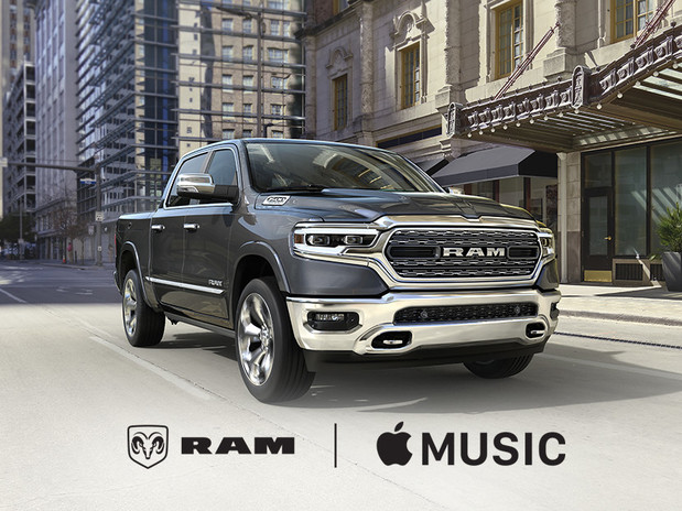 2018 Black RAM 1500 Truck Side View with Apple Music Experience