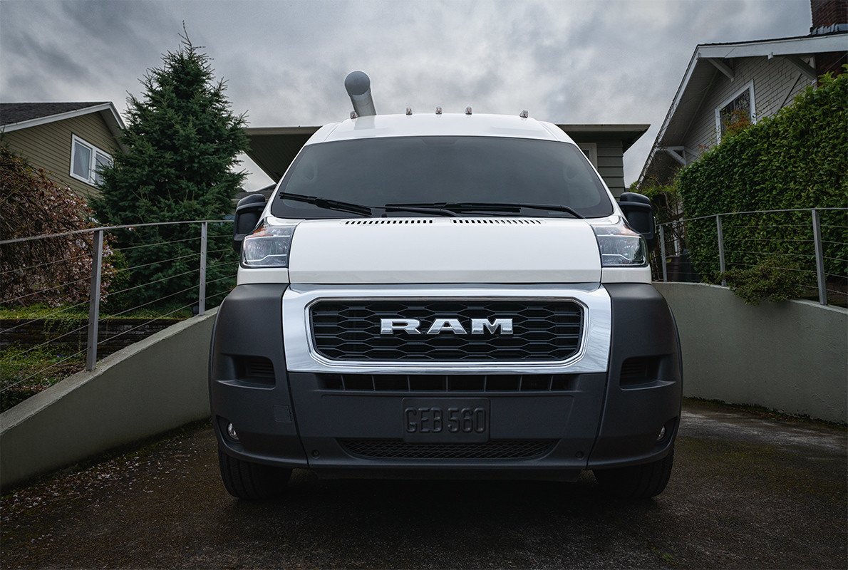 2019 Ram ProMaster front view, shown in white