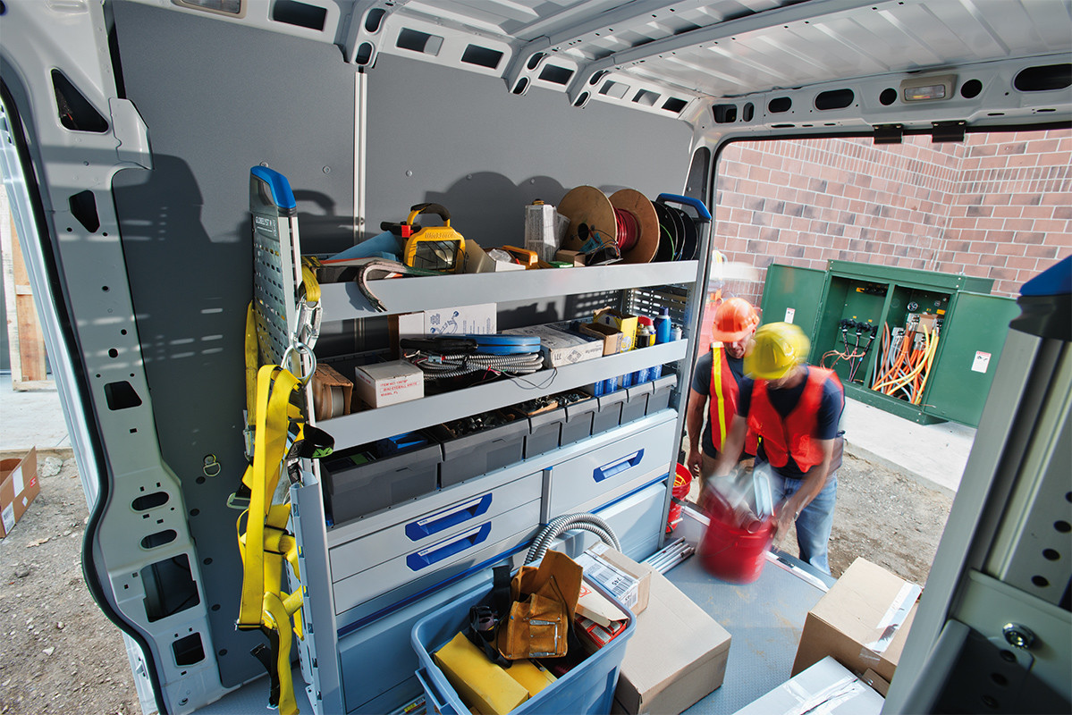 2019 Ram ProMaster rear box open with men working