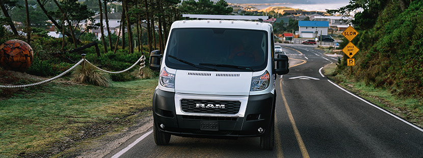 2019 Ram ProMaster front view on city street, shown in white