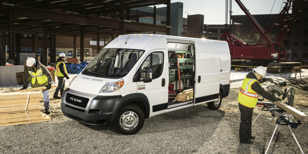 2020 Ram ProMaster filled with tools parked in a construction site