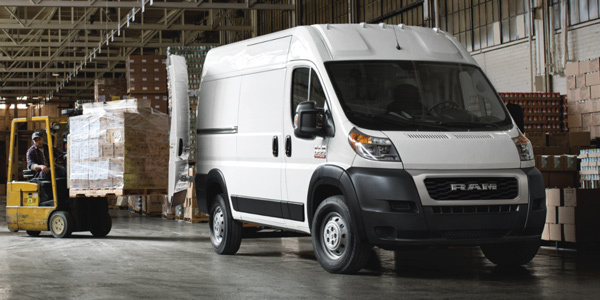 2021 Ram Promaster being loaded with boxes in a warehouse facility