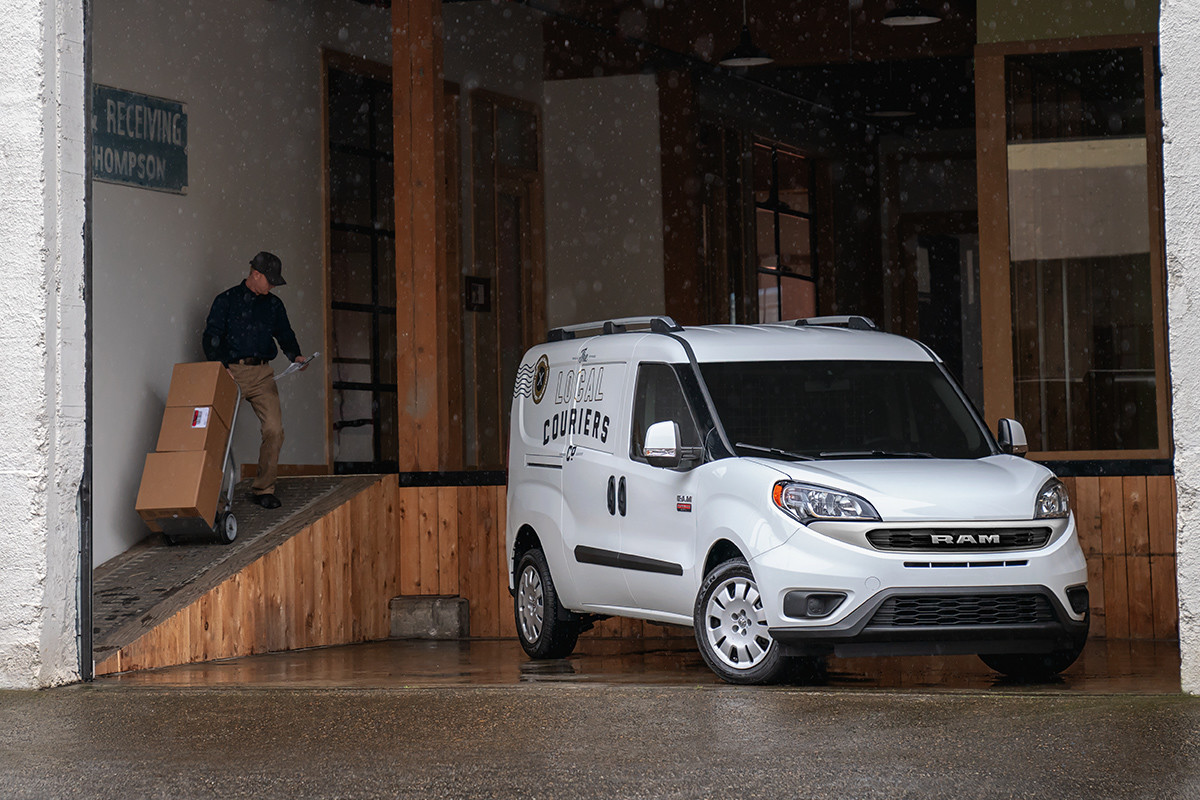 2019 Ram ProMaster City being unloaded in loading dock, shown in white