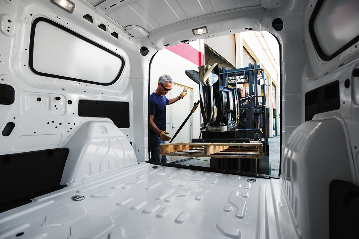 2019 Ram ProMaster City interior view of cargo area being loaded with pallet