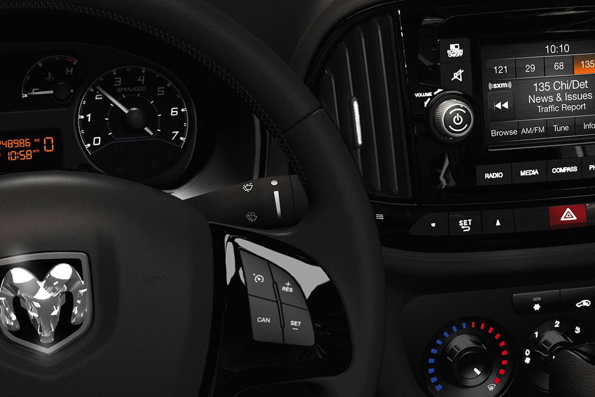2019 Ram ProMaster City interior view of dashboard and 5-inch touchscreen with Uconnect 3 multimedia centre