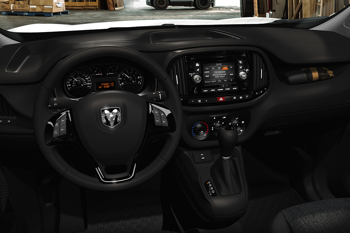 2019 Ram ProMaster City dashboard and 5-inch touchscreen with hands-free communication
