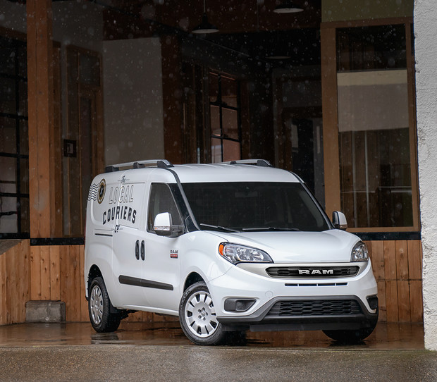 2019 Ram ProMaster City<sup>®</sup> parked in docking bay, shown in white