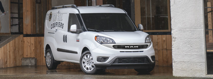 Front view of the 2019 Ram ProMaster City parked in a loading dock