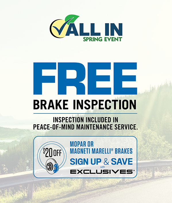 Free Brake Inspection Inspection included in POM service.